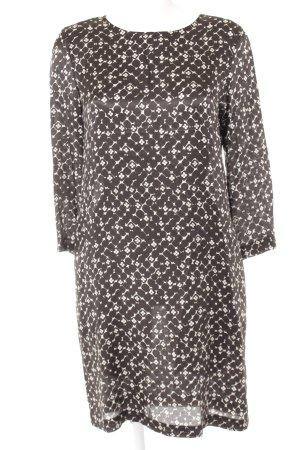 0039 Italy Hemdblusenkleid schwarz-weiß abstraktes Muster Casual-Look