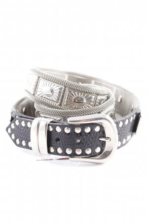 0039 Italy Hip Belt black-silver-colored classic style