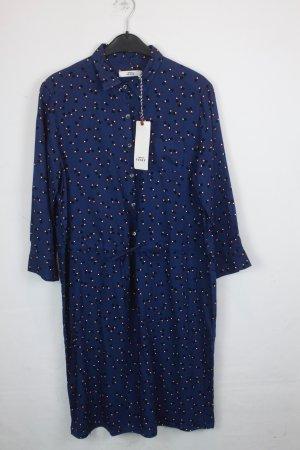 0039 Italy Kleid Hemdblusenkleid Gr. M blau mit Lippenstiftmotiv Muster NEU mit Etikett (18/4/184)