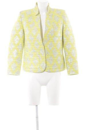 0039 Italy Korte blazer limoen geel-geel etnische print elegant