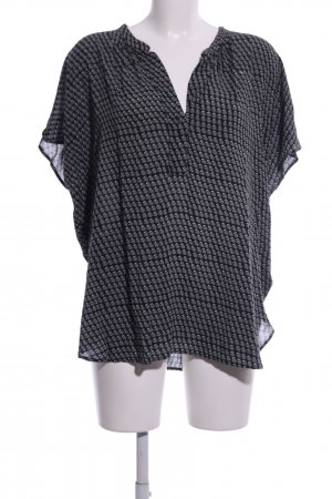 0039 Italy Short Sleeved Blouse black-light grey allover print casual look