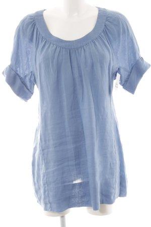 0039 Italy Kurzarm-Bluse himmelblau Casual-Look
