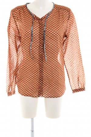0039 Italy Long Sleeve Blouse light orange-brown allover print business style