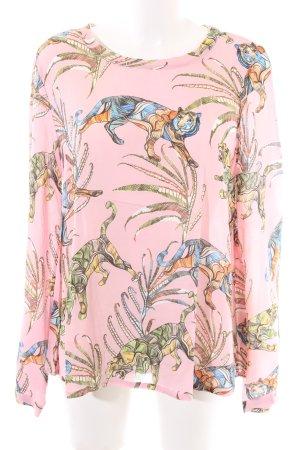 0039 Italy Blouse à manches longues rose imprimé allover style décontracté
