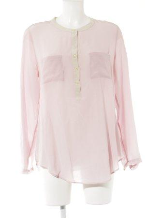 0039 Italy Langarm-Bluse creme-rosé klassischer Stil