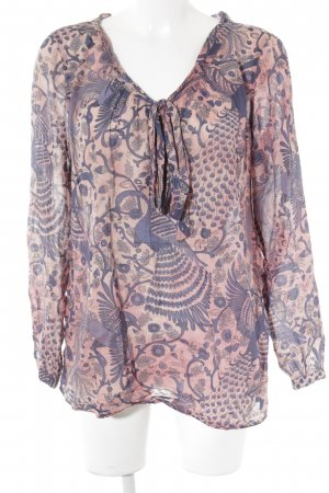0039 Italy Long Sleeve Blouse dark blue-salmon floral pattern beach look