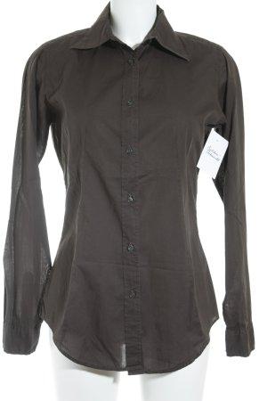 0039 Italy Langarm-Bluse dunkelbraun schlichter Stil