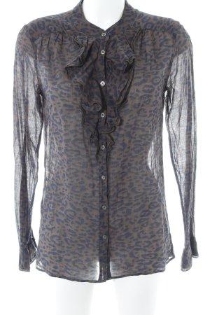 0039 Italy Long Sleeve Blouse grey brown-dark blue leopard pattern animal print
