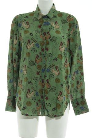 0039 Italy Langarm-Bluse grün-braun Allover-Druck Casual-Look