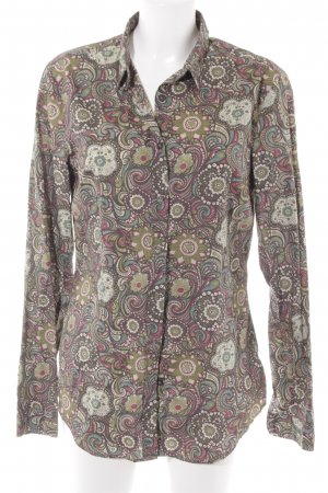 0039 Italy Long Sleeve Blouse green grey-brown violet floral pattern