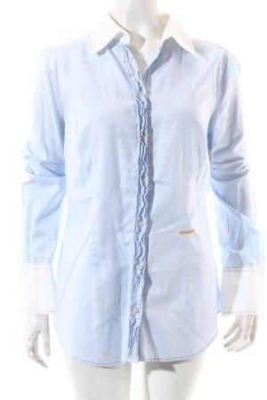 0039 Italy Langarm-Bluse hellblau-weiß Business-Look