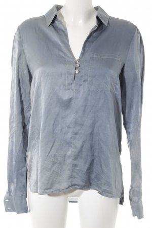 0039 Italy Langarm-Bluse himmelblau Elegant