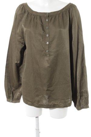 0039 Italy Langarm-Bluse olivgrün klassischer Stil