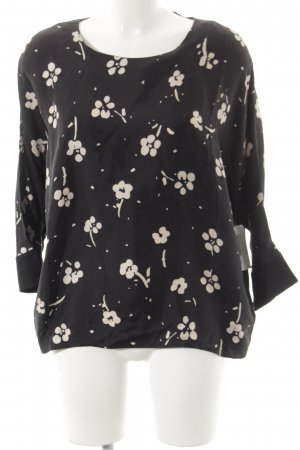0039 Italy Long Sleeve Blouse black-beige flower pattern simple style