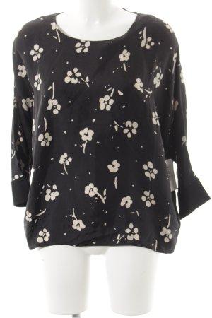 0039 Italy Langarm-Bluse schwarz-beige Blumenmuster schlichter Stil