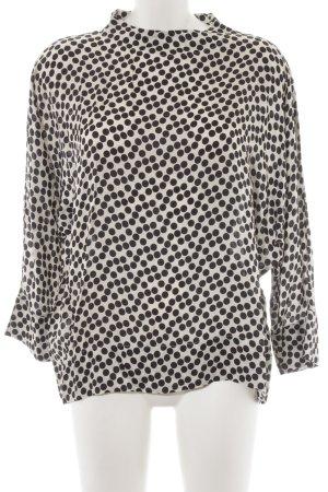 0039 Italy Langarm-Bluse schwarz-creme Punktemuster Elegant