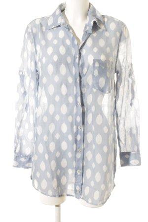 0039 Italy Langarm-Bluse weiß-himmelblau Punktemuster klassischer Stil