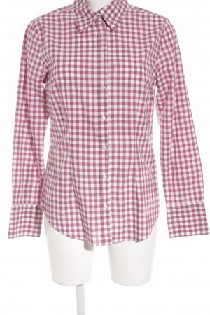 0039 Italy Long Sleeve Shirt raspberry-red-white check pattern classic style