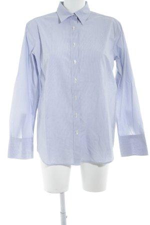 0039 Italy Chemise à manches longues bleu azur-blanc motif rayé