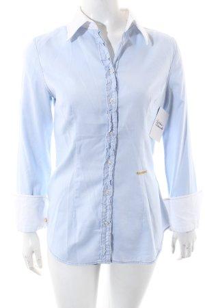 0039 Italy Langarmhemd weiß-himmelblau Casual-Look
