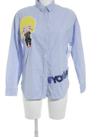 0039 Italy Langarmhemd weiß-himmelblau Nadelstreifen Casual-Look