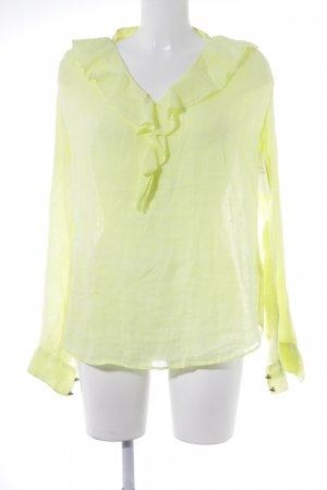 0039 Italy Linen Blouse neon yellow casual look