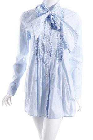 0039 Italy Long-Bluse hellblau klassischer Stil