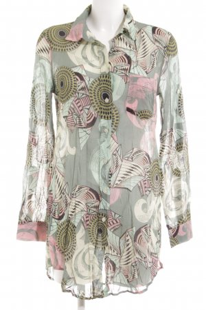 0039 Italy Long Blouse light grey abstract pattern elegant