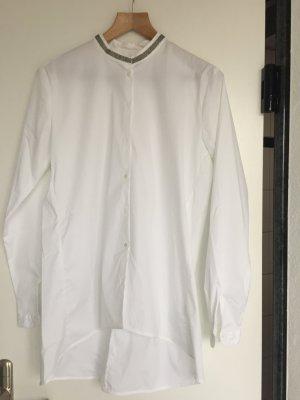 0039 Italy neu weiße Bluse mit Stehkragen