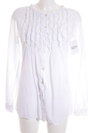0039 Italy Rüschen-Bluse weiß klassischer Stil