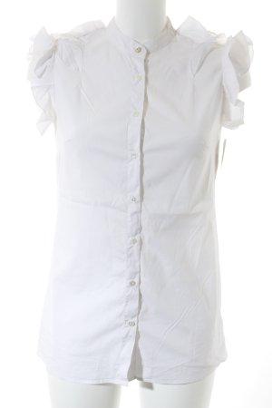 0039 Italy Ruche blouse wolwit zakelijke stijl