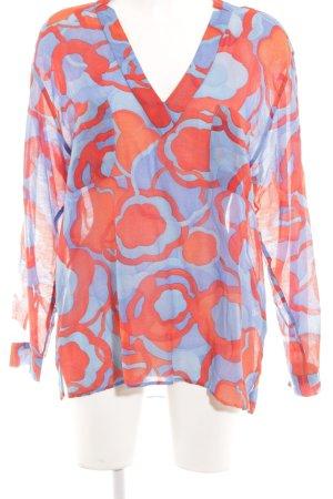 0039 Italy Schlupf-Bluse kornblumenblau-rot abstraktes Muster extravaganter Stil