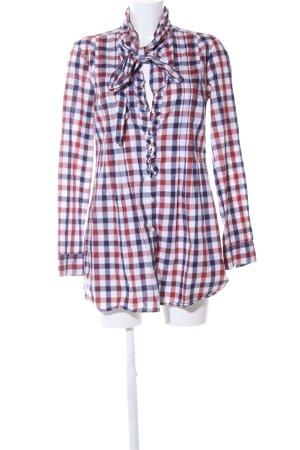 0039 Italy Blusa collo a cravatta motivo a quadri stile casual