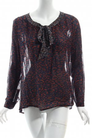 0039 Italy Tie-neck Blouse dark blue-brown flower pattern casual look