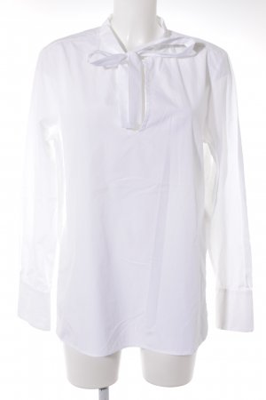 0039 Italy Tie-neck Blouse white-natural white simple style