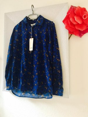 0039 Italy Blusa in seta blu-marrone scuro