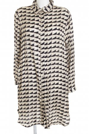 0039 Italy Seidenbluse beige-schwarz abstraktes Muster klassischer Stil
