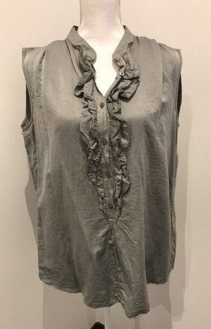 0039 Italy Ruffled Blouse khaki silk