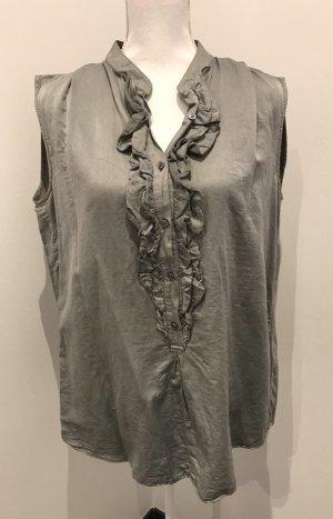 0039 Italy Ruche blouse khaki Zijde