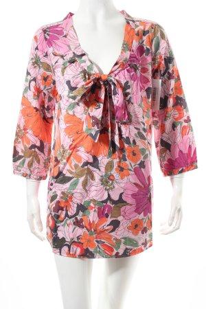 0039 Italy Seidenbluse florales Muster Schleifen-Detail