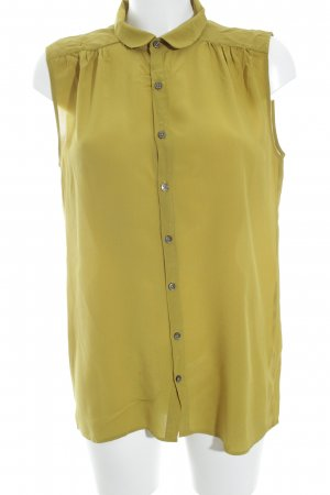 0039 Italy Silk Blouse lime yellow classic style