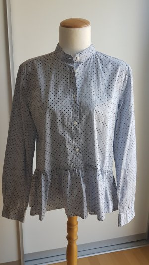 0039 Italy Stand-Up Collar Blouse azure