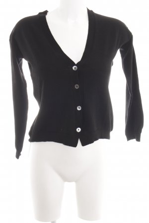 0039 Italy Knitted Cardigan black casual look