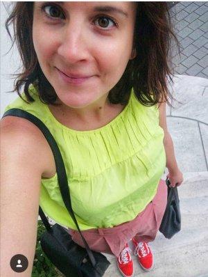 0039 Italy Top Seide Neon Neongelb Blusentop Bluse