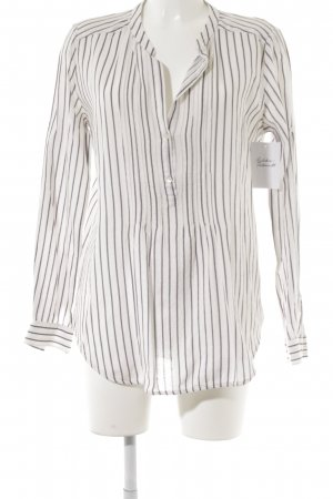 0039 Italy Tunic white-slate-gray striped pattern navy look
