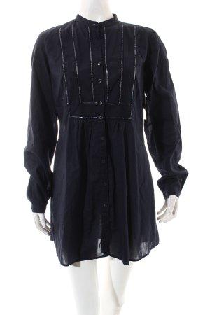 0039 Italy Blusa de túnica azul oscuro look casual