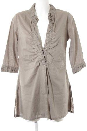 0039 Italy Blusa a tunica marrone-grigio elegante
