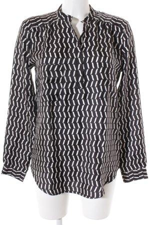 0039 Italy Tunikabluse weiß-schwarz abstraktes Muster Casual-Look