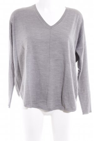 0039 Italy V-Ausschnitt-Pullover grau meliert Casual-Look