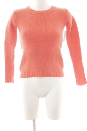 0039 Italy Wool Sweater salmon herringbone pattern casual look